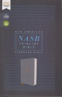 NASB Thinline Bible - Gray cloth over board